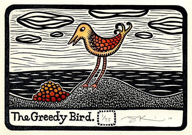 "Linocut print of ""Greedy Bird"" by Aijung Kim"