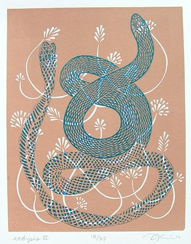 "Linocut print, ""Ecdysis II"" by Aijung Kim"