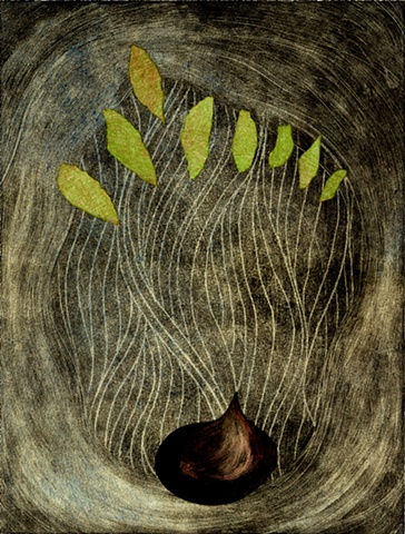 """Onion Dream"" monotype print by Aijung Kim"