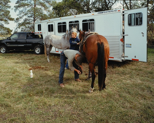 Casey & Tracy, SDSU College Rodeo Team Practice, Brookings, South Dakota 2003