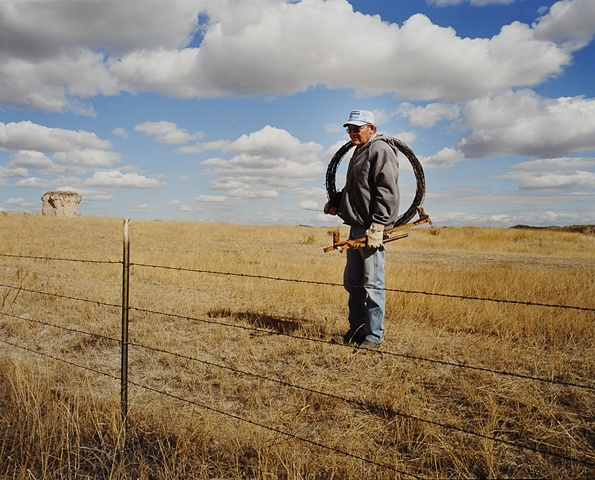 Gaylene repairing his fences, Porcupine, South Dakota  2003