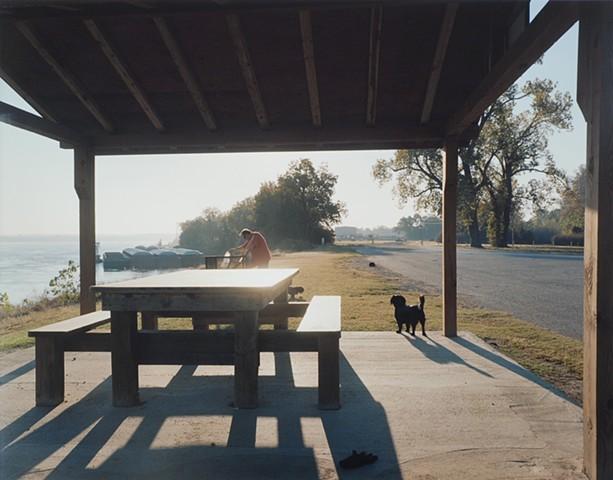 Dale with Princess and Precious, San Souci River Access, Osceola, Arkansas 2016