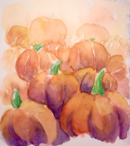 pumpkins, watercolor, fall
