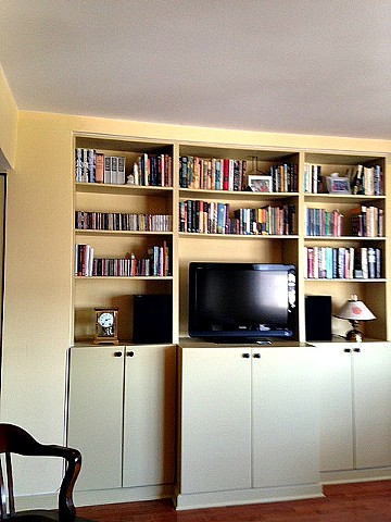 Small Space Designer, Built in Bookshelves, New York City Designer, Brooklyn Interior Designer, Built in Media Center