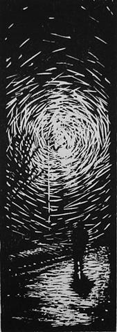 Woodcut original woodcut print Luke Vehorn fabric