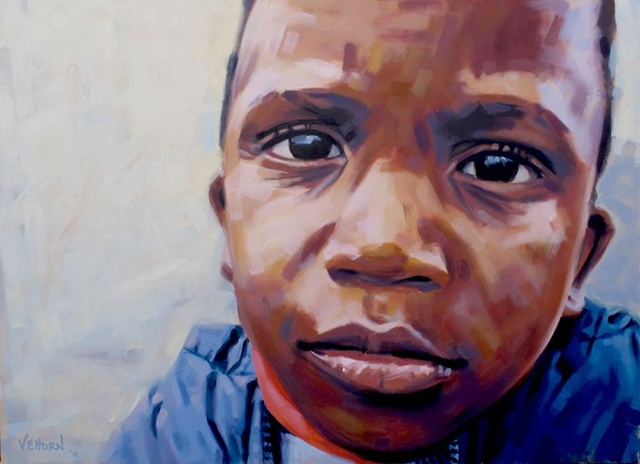 Oil painting of AIDS orpahn Anga by Luke Vehorn