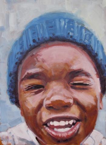 original oil painting by Luke Vehorn South African artist former redux artist AIDS orphan contemporary portrait
