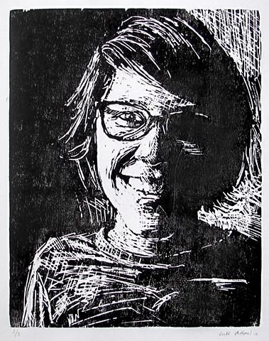 Luke Vehorn Original Woodblock Print Julie Simuang Printmaking Relief Woodcut