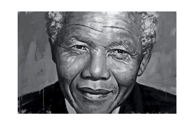 Luke Vehorn Nelson Mandela Painting Original Artwork Contemporary Portrait South Africa Charleston