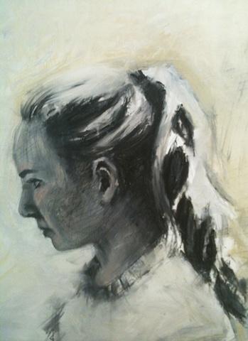 original oil painting by Luke Vehorn South African artist former redux artist Sally King Benedict contemporary portrait