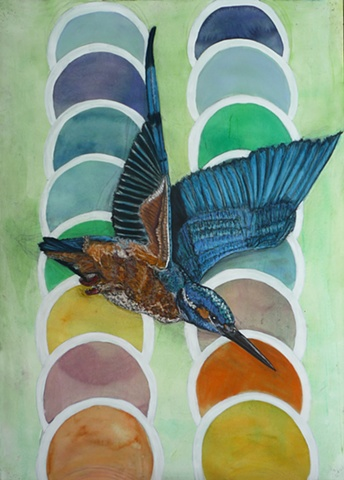 flying kingfisher, tantra, dots