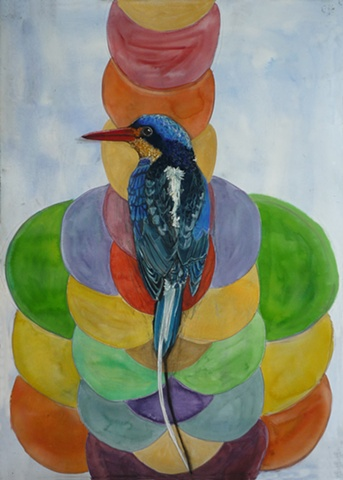 long tailed kingfisher, dots, tantra, shadow