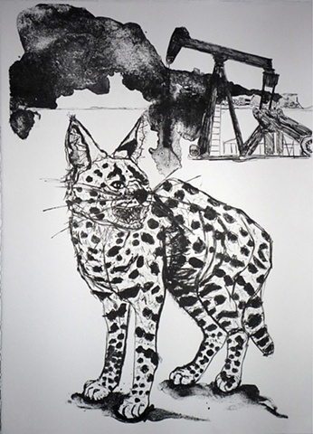 serval print lithograph wild cat