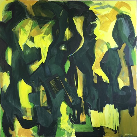 Abstract painting, oil on canvas large scale by Ted Stanuga.  Expressionist.  Interior design corporate, curater gallery museum. Ted Stanuga fine artist.