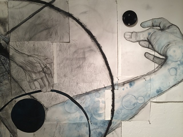 mixed media installation drawing