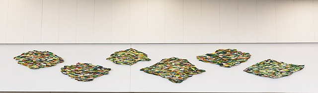 Commissioned series of six textile wall pieces inspired by Monet's Waterlilies, installed at the Dayton Main Library, Dayton, OH, part of the Reimagining Works program, a partnership with the Dayton Art Institute and Dayton libraries