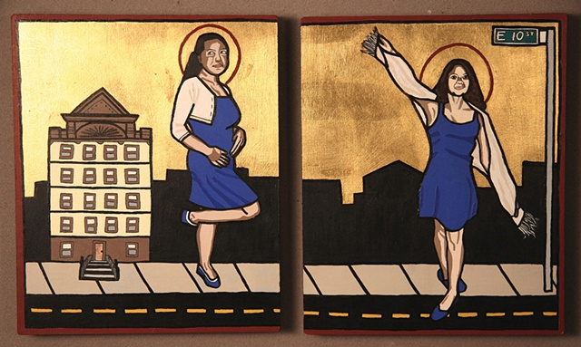 St. Howie of 10th Street (left), Patron saint of sexual temptation, motherhood, and unconditional love  St. Noelle of 10th Street (right), Patron saint of optimism and childhood
