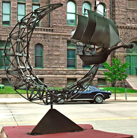 """Song of the Flying Dutchman"" Cast bronze and fabricated stainless steel and steel base."