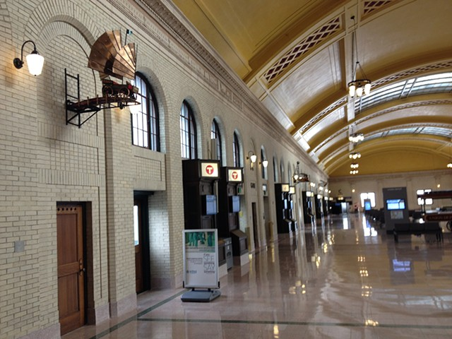 Union Depot Railroad Station Waiting Room with my pieces installed.
