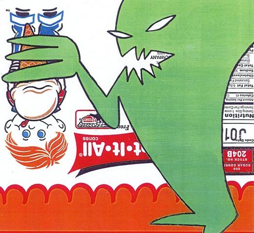 Monster Eating Boy Eating Ice Cream
