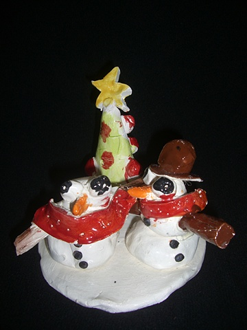 Snowman and snow woman.