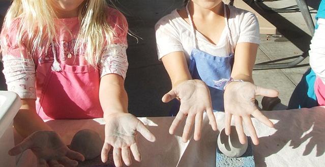 Showing beautiful muddy hardworking hands!
