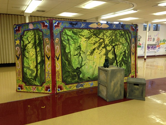 Hansel & Gretel, forest drops set up in rehearsal space
