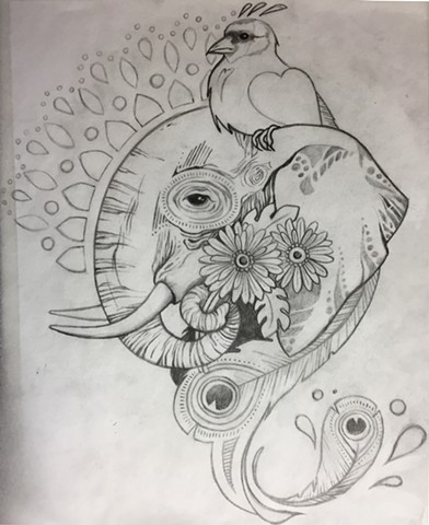 Elephant and Bird with Marigolds for Dan (sketch)