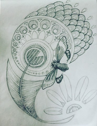 Feather and Cicada for Michele (sketch)