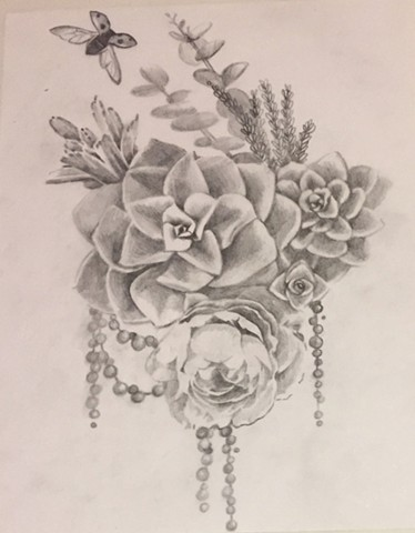 Cascading Succulents for Roxy (sketch)