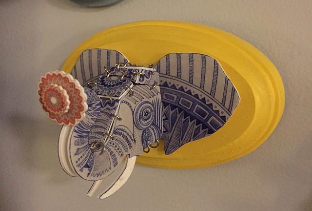 Folk Elephant Head Plaque