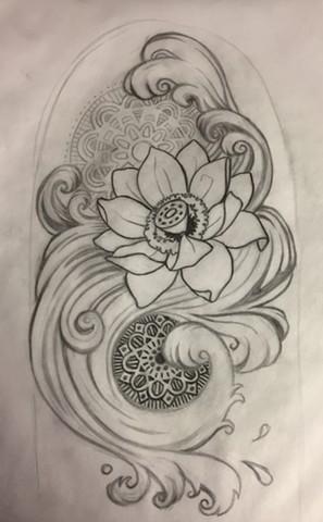 Lotus and Waves (sketch)
