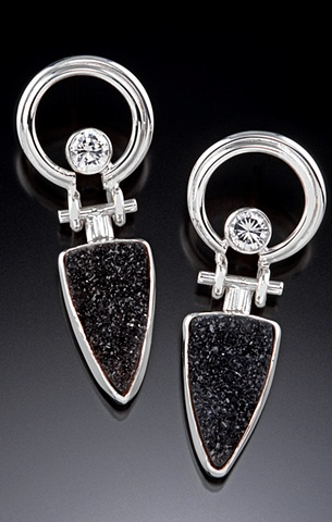Black druzy and CZ suspension hinge earrings in silver...