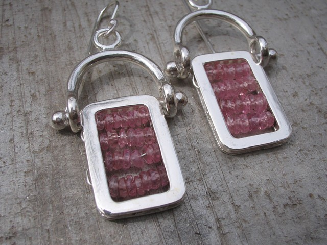 Tourmaline hinged sterling earrings