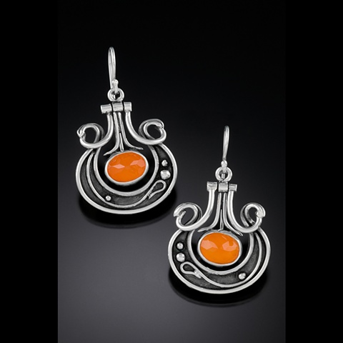 Carnelian, hinged, faceted, one of a kind, organic hand fabricated earrings