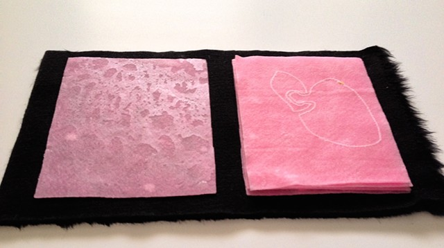 wax, anatomy, felt, clay, faux fur, texture, drawing, stitching, book, panels, pink