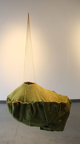 sculpture, hanging sculpture, suspended sculpture, felt, dye, sew, stitch, gold thread, landscape, gold, floating landscape