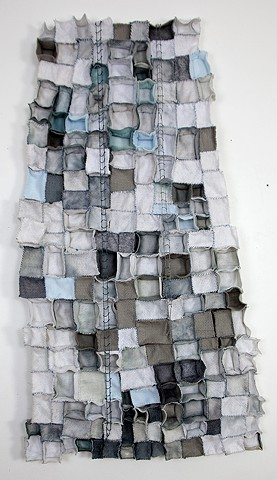 indigo, felt, dye, ink, sculpture, ladders, architecture, floating architecture, floating sculpture, suspended sculpture, fibers, textiles. sew, stitch, repitition