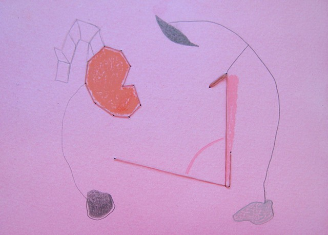 pink dye, sewing paper, thread on paper, drawing, diagram