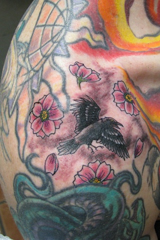 Mini Crow and Cherry Blossoms