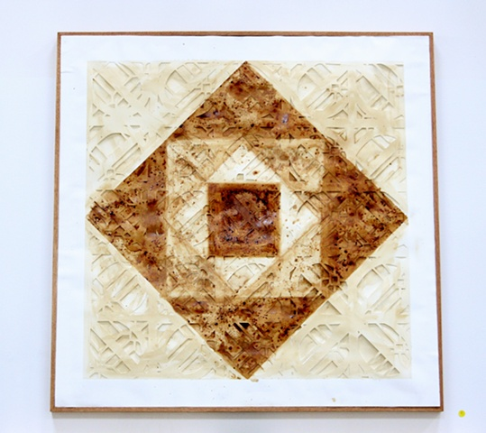 Paper Quilt, Quilt Art, Cut Paper Art, Coffee Painting.