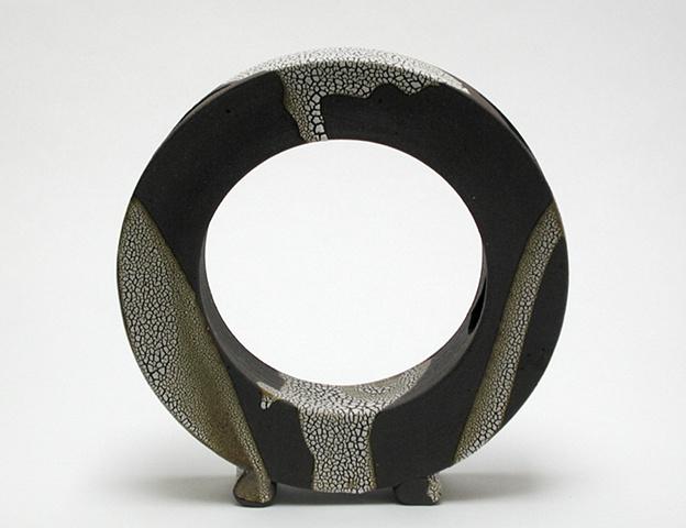 Circle vase with alligator glaze