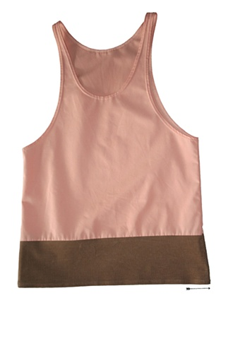 salmon pink and brown corduroy tank top