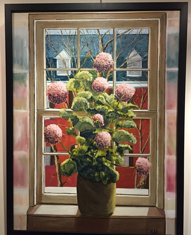 Oil painting of flowers in pot on window sill