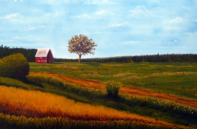 Red Barn in Meadow