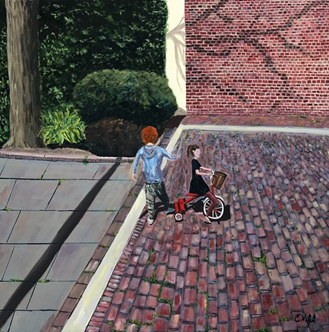 Oil Painting of Kids Playing on Bike