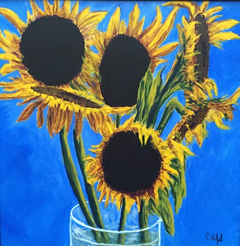 Painting of Sunflowers in a vase