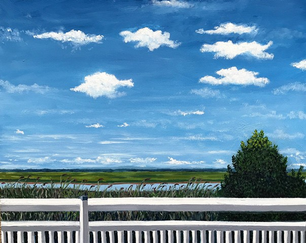 Avalon New Jersey Bay View Oil Painting