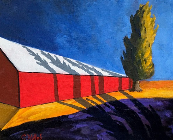 Barn with tree shadows oil painting