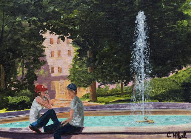 Oil Painting of Couple Sitting at Fountain